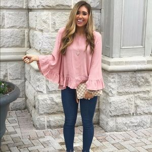 Tops - Pink ruffle sleeve top